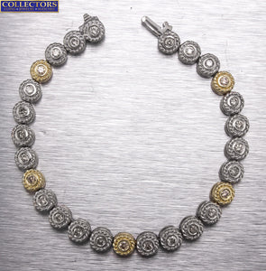 "Ladies 14K White Yellow Gold Two-Tone 1.90ctw Diamond Bezel Link 7.00"" Bracelet"