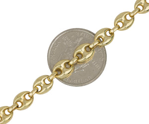 "Men's Italian 18K Yellow Gold 7mm Puffed Gucci Link Chain 21.50"" Necklace 32.4gr"