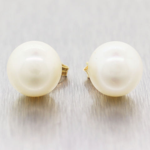 Modern 14k Yellow Gold 11mm Cultured Pearl Stud Earrings