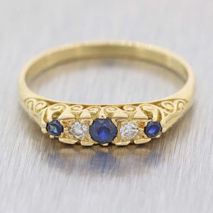 1890s Antique Victorian Estate 18k Yellow Gold .25ctw Sapphire Diamond Band Ring