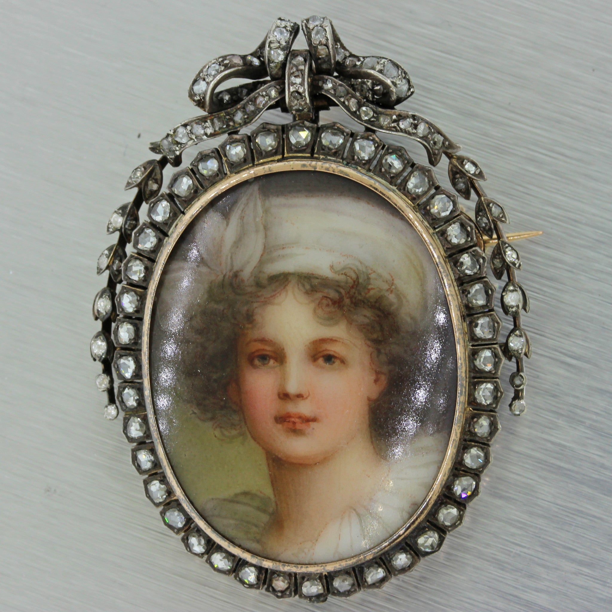 1850s Antique Victorian 18k Gold Diamond Elisabeth Louise Vigee Le Brun Brooch