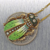 1880s Antique Victorian 14k Yellow Gold Diamond Enamel Beatle Pendant Necklace C8