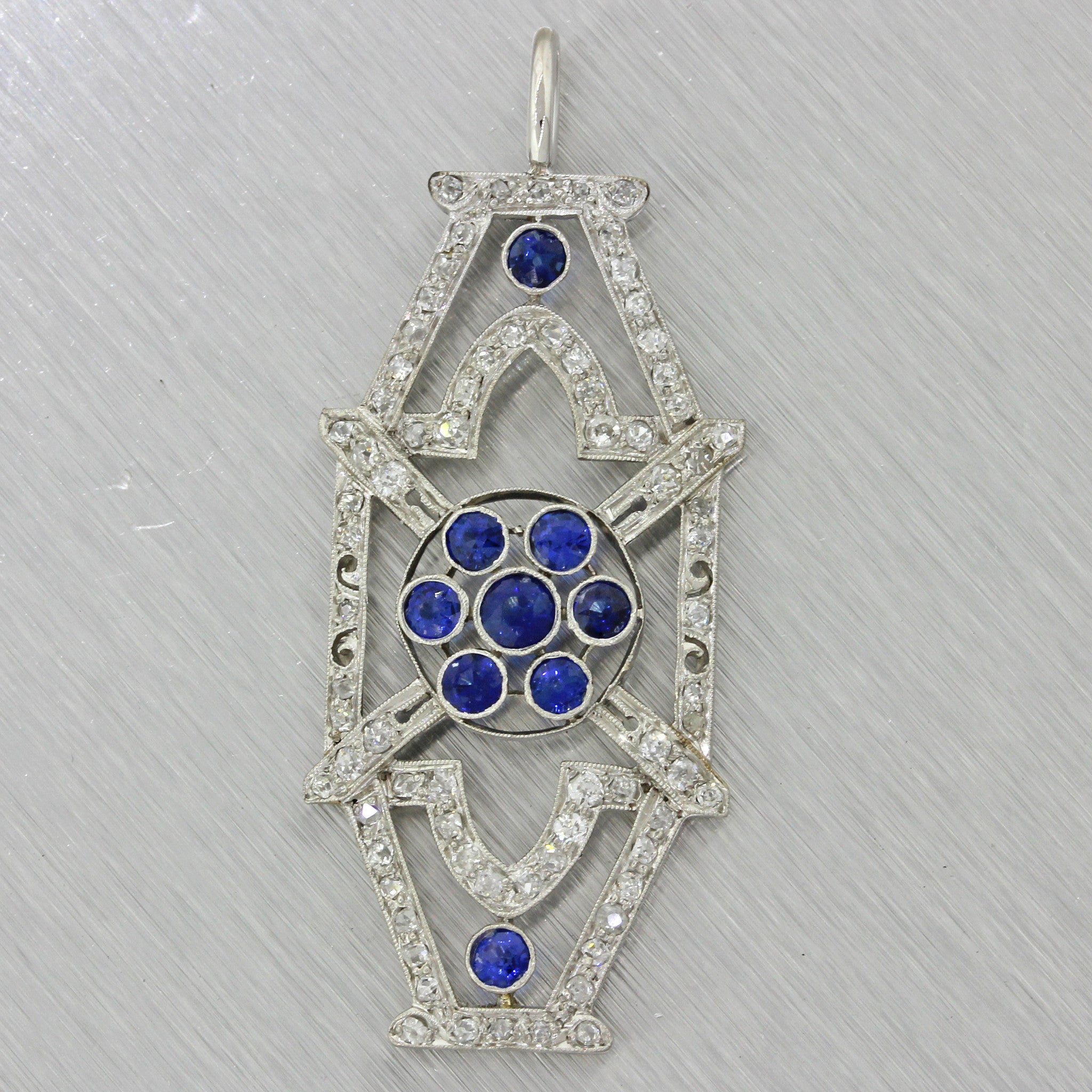 1930s Antique Art Deco Platinum 1.15ctw Diamond .65ctw Sapphire Brooch Pin