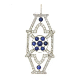 1930s Antique Art Deco Platinum 1.15ctw Diamond .65ctw Sapphire Necklace Pendant