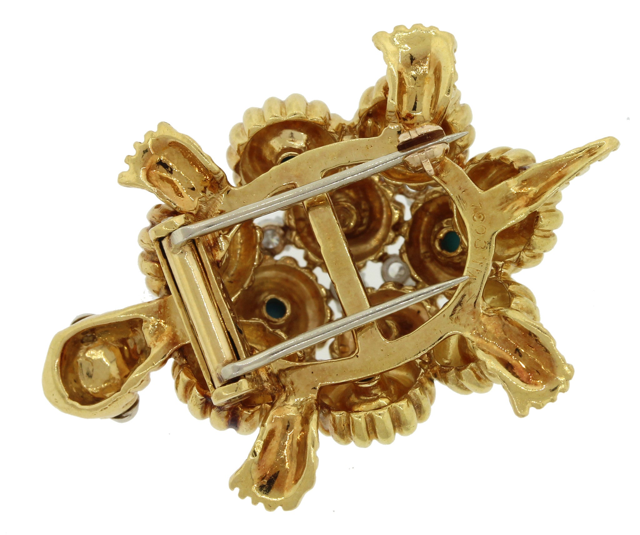 1970s Vintage 18k Solid Yellow Gold .46ctw Diamond Turquoise Turtle Brooch Pin