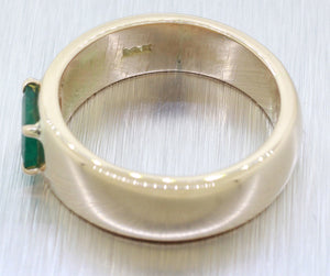 Vintage Estate 14k Solid Yellow Gold 0.75ct Emerald Solitaire Band Ring