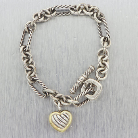 David Yurman Sterling Silver & 18k Yellow Gold Cable Heart Toggle Bracelet
