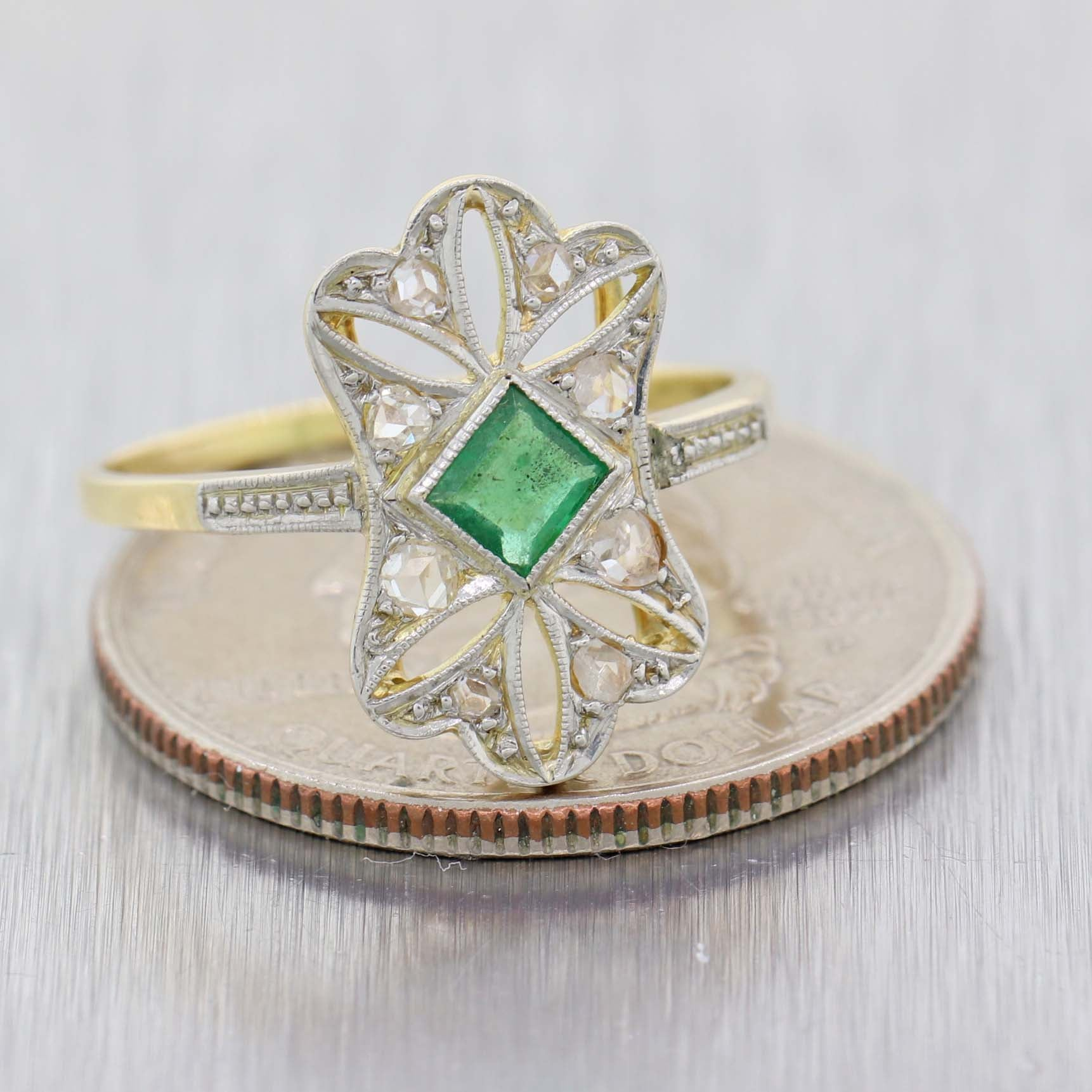 1930s Antique Art Deco Platinum on Yellow Gold Emerald Diamond Cocktail Ring