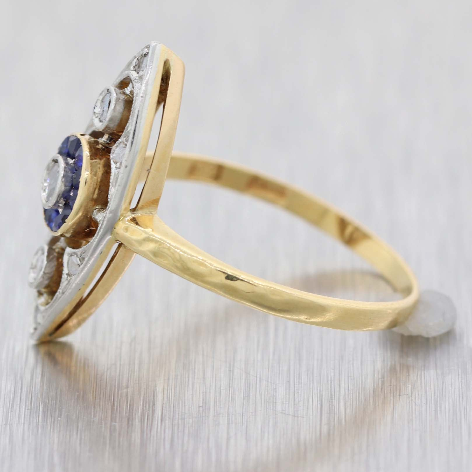 1920s Antique Art Deco Platinum on Yellow Gold Sapphire Diamond Cocktail Ring