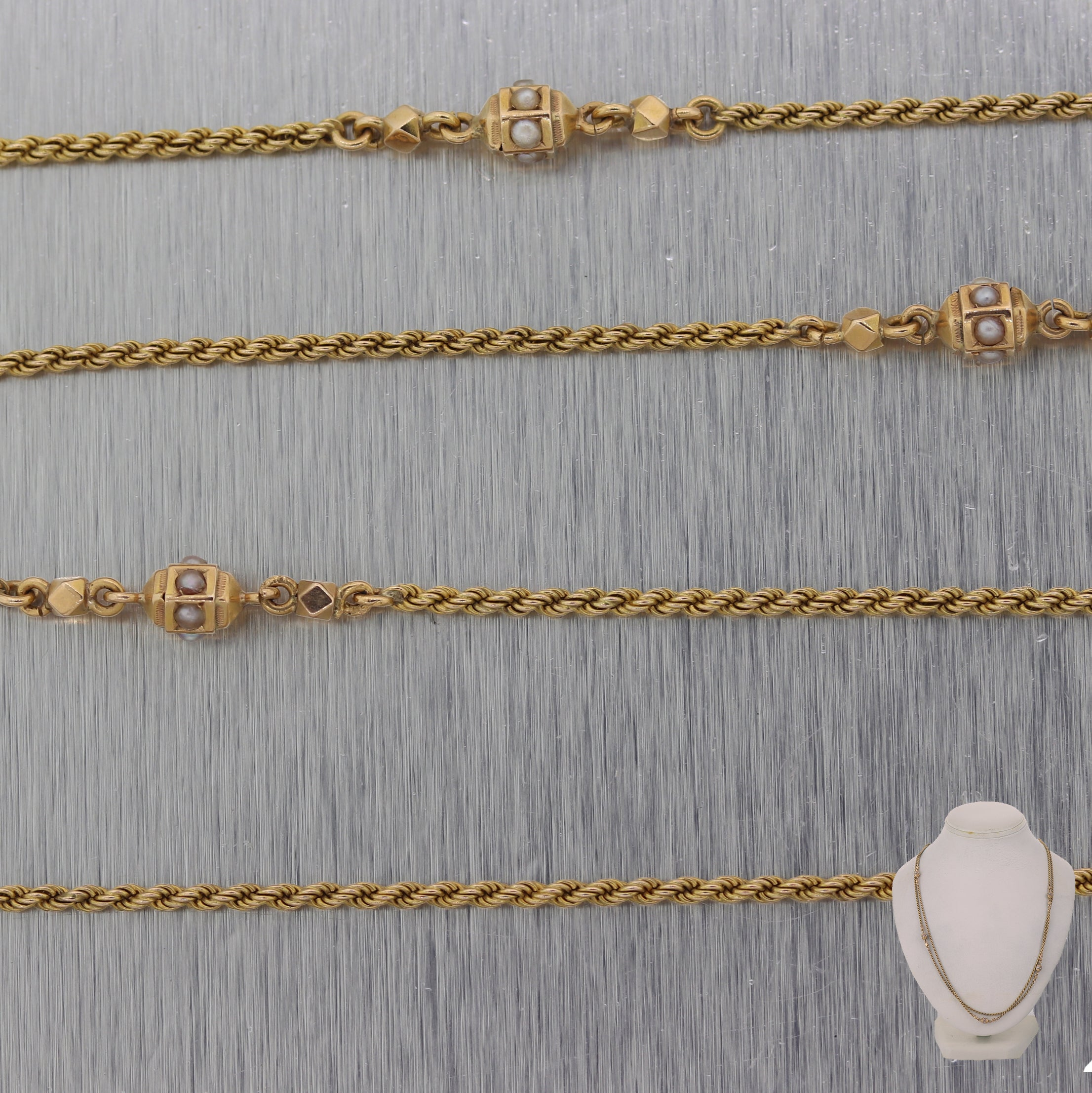 "1890's Antique Victorian 14k Yellow Gold Seed Pearl Slide 48.5"" Necklace"