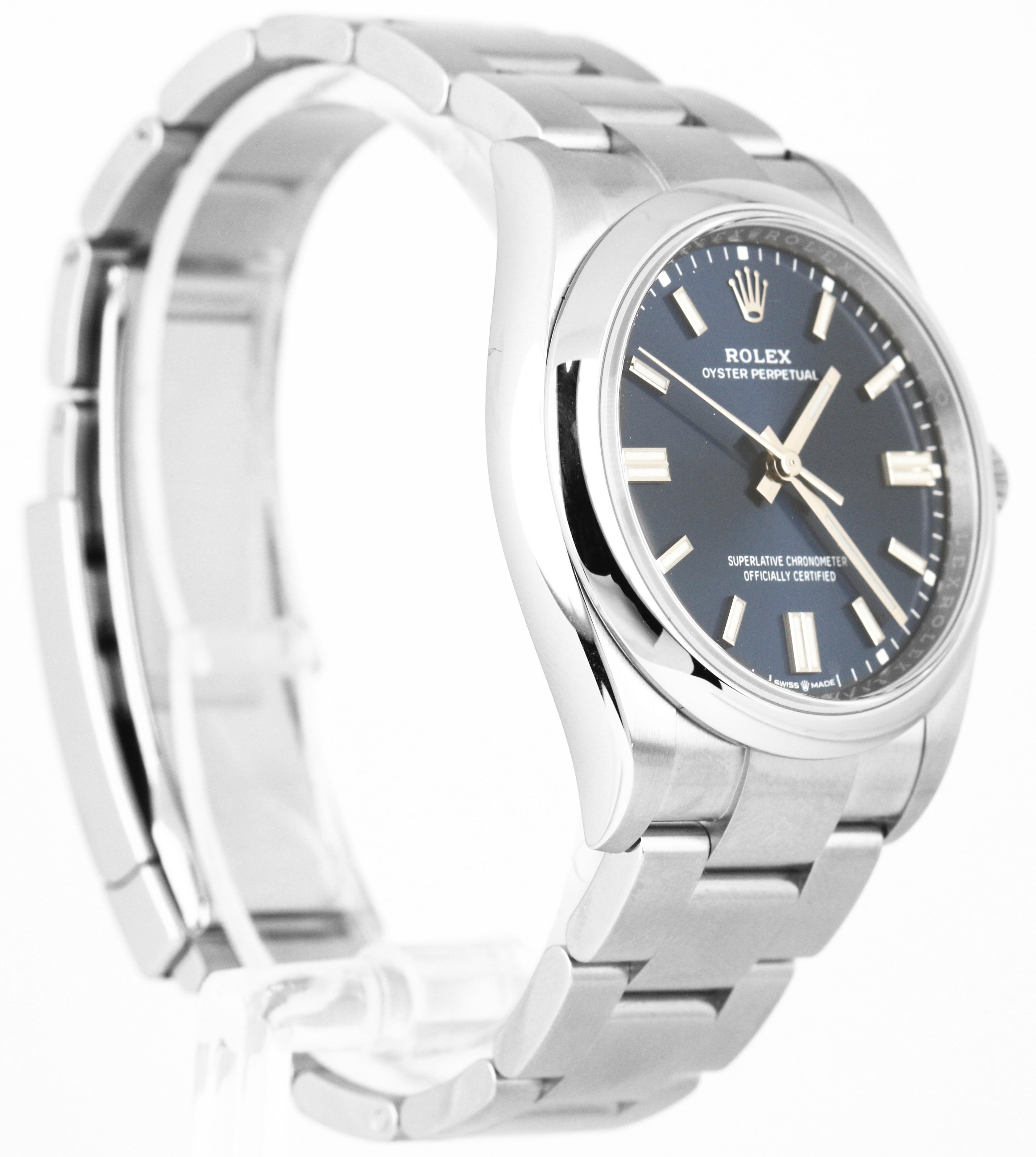 BRAND NEW Rolex Oyster Perpetual 36mm Stainless Steel Blue Stick Watch 126000