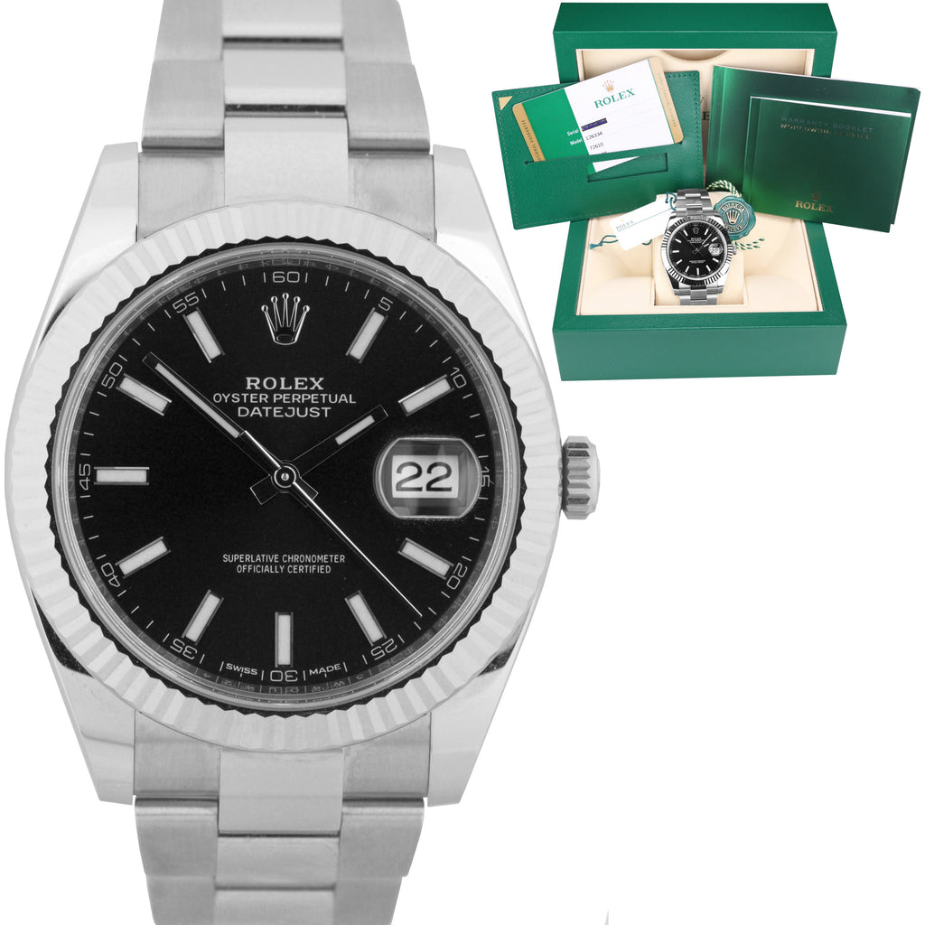 NEW 2019 Rolex DateJust 41 Black Stainless Steel Fluted Oyster 41mm Watch 126334