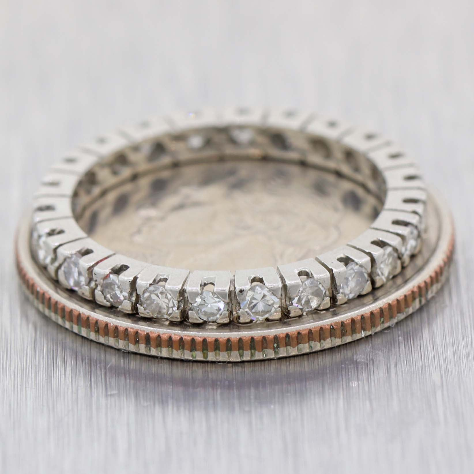 1930s Art Deco Estate Platinum .50ctw Diamond 2mm Eternity Wedding Band Ring