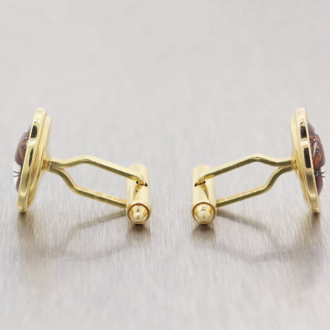 Essex Glass Vintage Estate 14k Yellow Gold Horse Equestrian Cufflinks