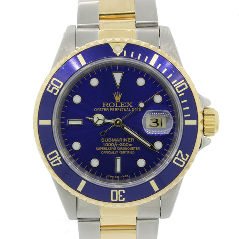SERVICED Rolex Submariner Date 16613 Two Tone Steel 18k Gold Blue 40mm Watch A9