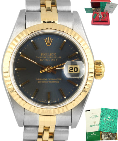 1995 Ladies Rolex DateJust 69173 26mm Jubilee Blue Two Tone NO-Holes Gold Watch