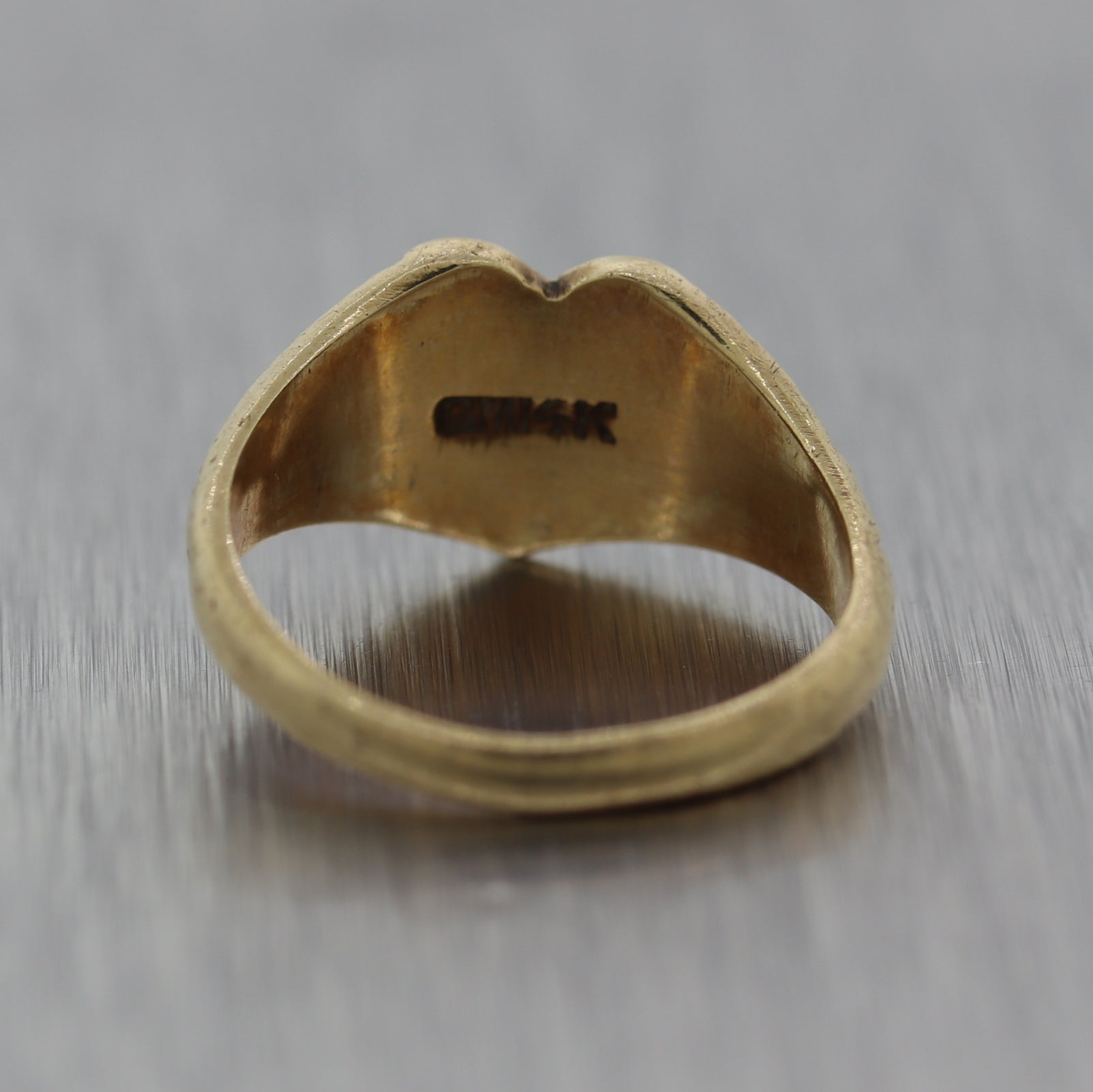1870's Antique Victorian 14k Yellow Gold Heart Signet Ring