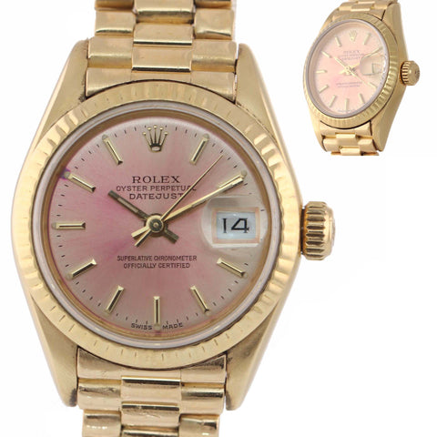 MINT Ladies Rolex DateJust President 26mm Champagne Pink Stick 69178 18k Yellow Gold Watch