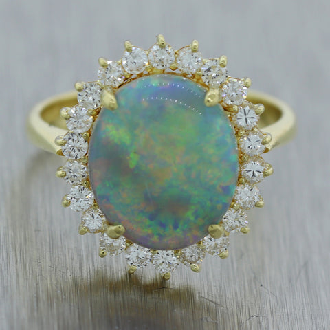 Vintage Estate 18k Yellow Gold Opal & 0.50ctw Diamond Cocktail Ring