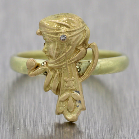 1910's Antique Art Nouveau 14k Yellow Gold Diamond Head Ring