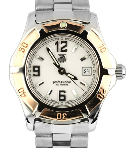 Ladies Tag Heuer 2000 18K Bezel 28.5mm WN1350 Arabic White Stainless Date Watch