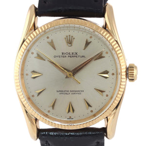 Vintage Rolex Oyster Perpetual Solid 14k Yellow Gold 34mm Silver Dial Watch