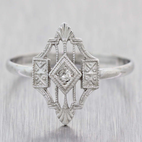 1930s Antique Art Deco Estate 14k White Gold .04ctw Diamond Cocktail Ring