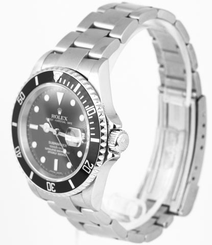 2007 Men's Rolex Submariner Date 16610 Z NO HOLES SEL Stainless 40mm Black Watch