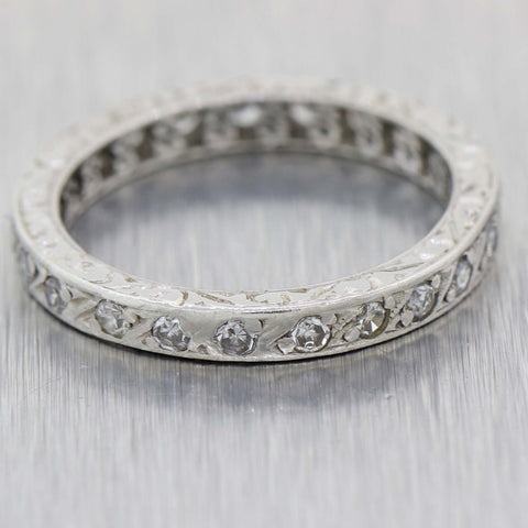 1930s Antique Art Deco Platinum .50ctw Diamond 2mm Engraved Eternity Band Ring