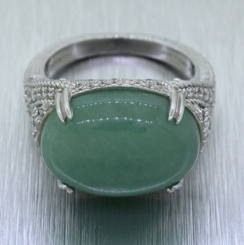 Judith Ripka 925 Sterling Silver Green Quartz and CZ Cabochon Cocktail Ring