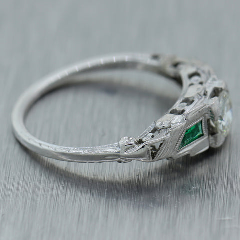 1920's Antique Art Deco 18k White Gold 0.50ctw Diamond & Emerald Ring