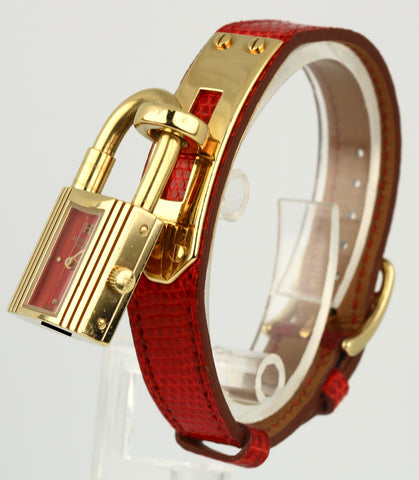 Ladies Hermes Kelly Gold Plated Padlock Lock Red Dial Leather Band Bag Watch
