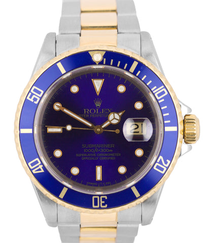 Rolex Submariner PURPLE 16613 W Blue Two Tone Steel 40mm Swiss Dive Date Watch