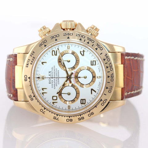 1999 MINT Rolex Daytona Zenith Cosmograph 16518 White Arabic 18k Yellow Gold Watch
