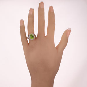 LeVian 14k Yellow Gold Oval Peridot & 0.35ctw Diamond Ring