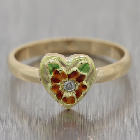 1890's Antique Art Nouveau 14k Yellow Gold Diamond Enamel Heart Ring