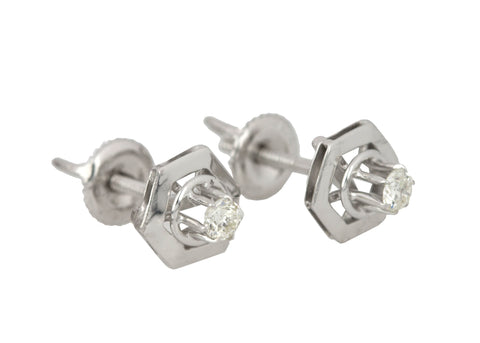 Women's 14k White Gold Geometric 0.16ctw Diamond Stud Screw-Back Earrings