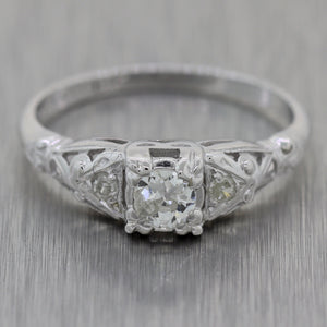 1930's Antique Art Deco 18k White Gold 0.30ctw Diamond Engraved Ring