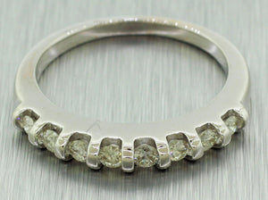 Vintage Estate 14k Solid White Gold 1.33ctw~ Round Diamond Engagement Ring Set