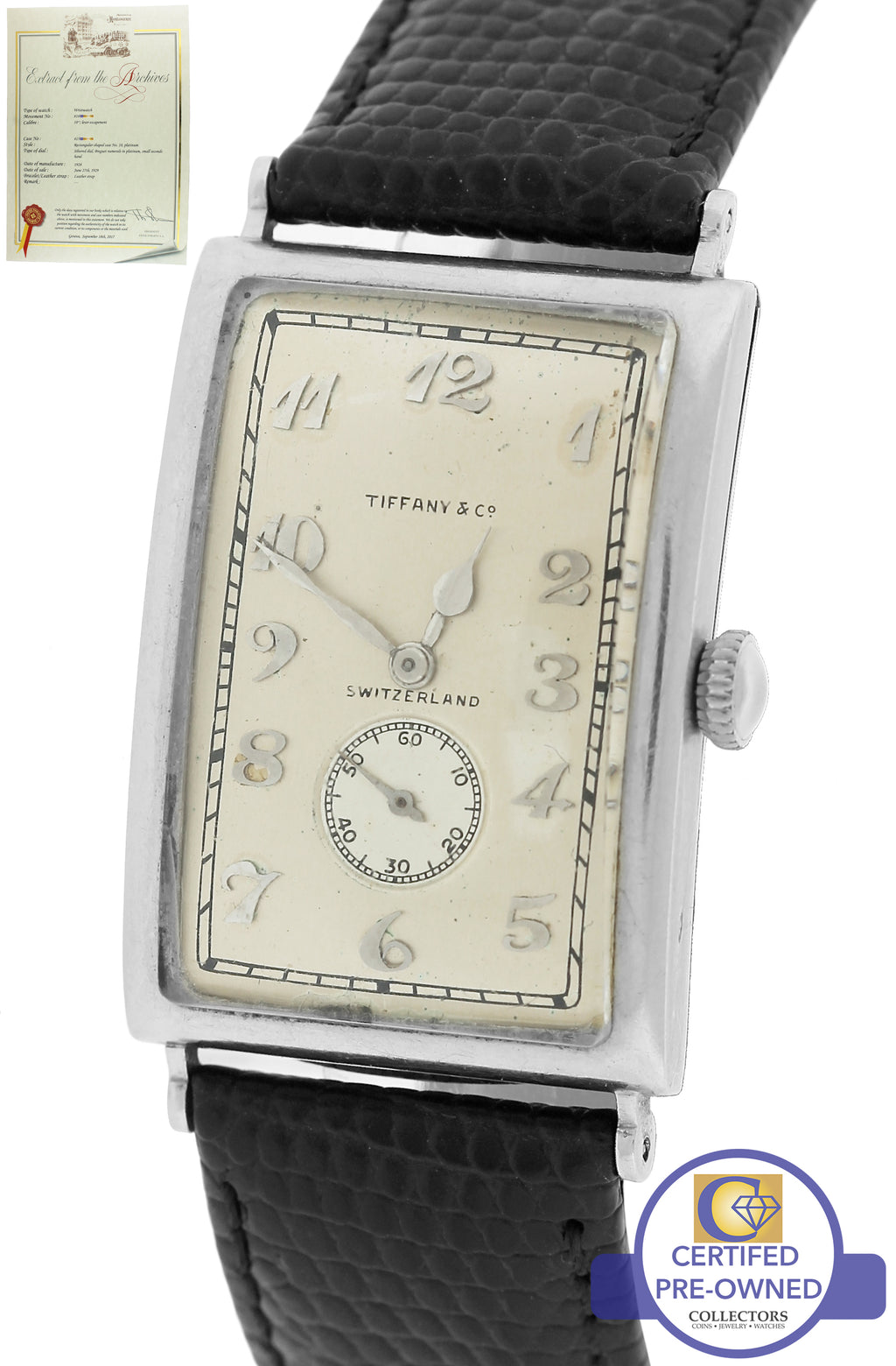 1928 Patek Philippe Tiffany & Co. Large Curved Hinged Rectangular Platinum Watch