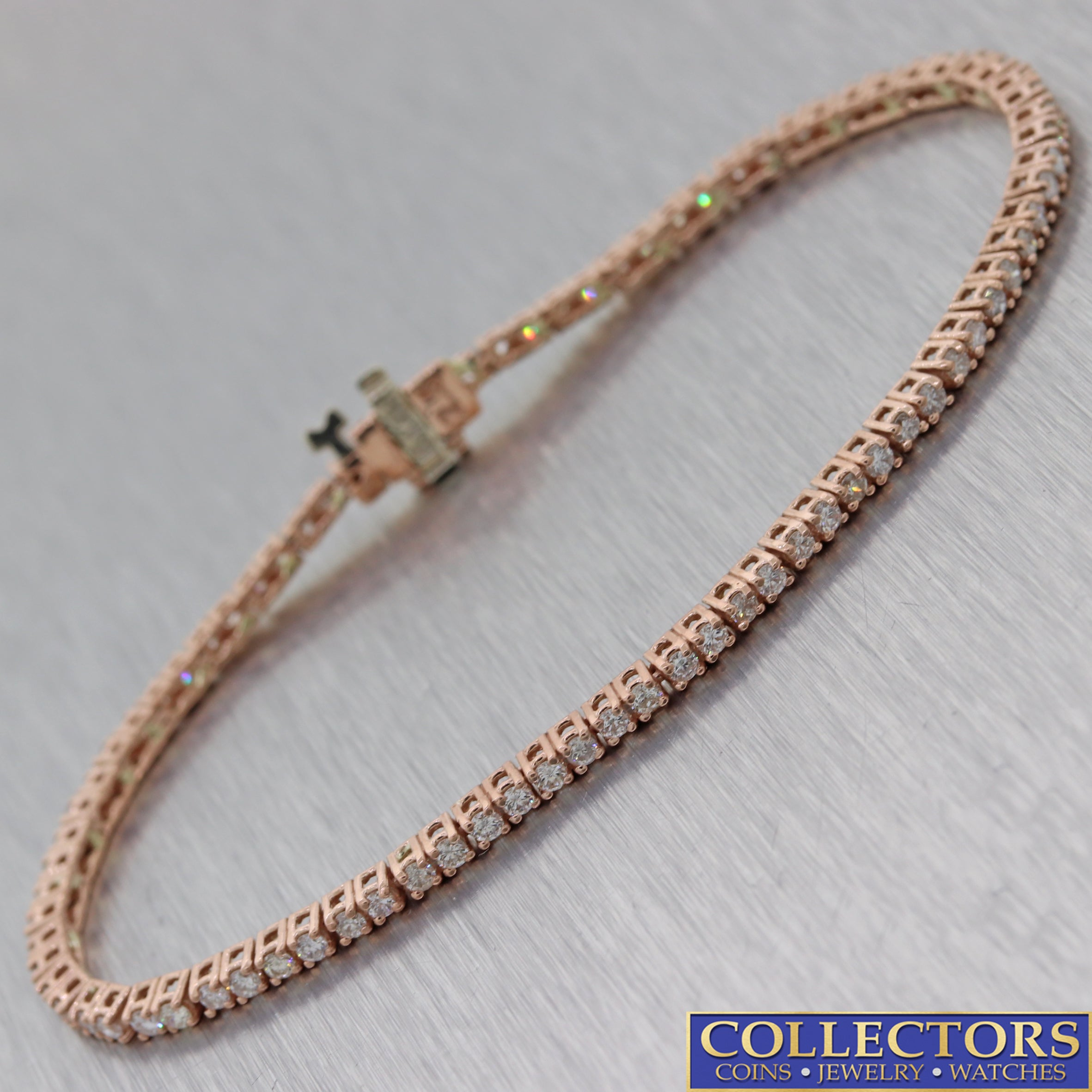 Modern Estate Solid 14k Rose Gold 2.10ctw Diamond 2mm Wide Tennis Bracelet C8