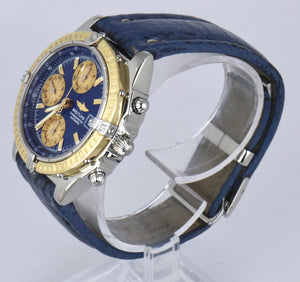 MINT Breitling Chronomat Chronograph Two-Tone 18K Gold D13352 39mm Blue Watch
