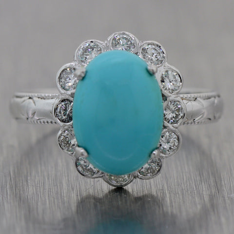1950's Antique Vintage Estate 18k White Gold 3.50ctw Turquoise & Diamond Ring