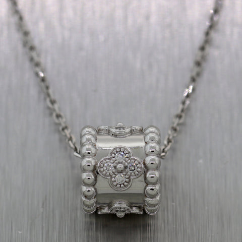 "Van Cleef & Arpels 18k White Gold Diamond Perlée Clovers Pendant 16.5"" Necklace"