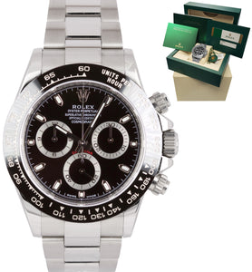 FULL SET Rolex Daytona Cosmograph 116500 LN Black Stainless Chronograph Watch