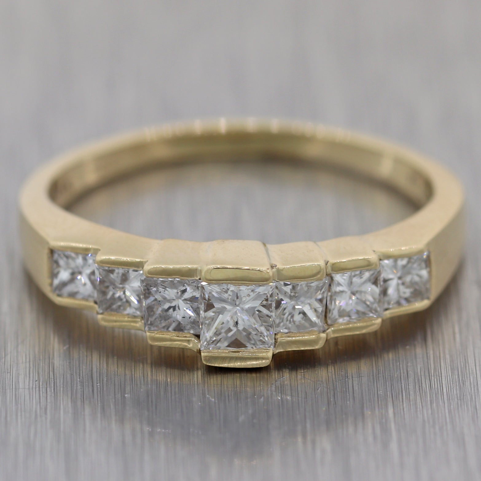 Vintage Estate 14k Yellow Gold 1ctw Diamond Princess Cut Wedding Band Ring