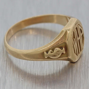 1880s Antique Victorian 14k Yellow Gold WHP Initials Music Notes Signet Ring