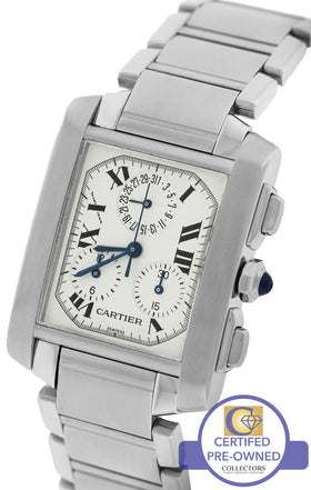 MINT Cartier Tank Francaise Chronoflex Chronograph Quartz W51001Q3 Watch 2303