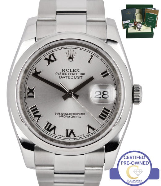 2010 Rolex DateJust Rhodium Roman 36mm 116200 Stainless Steel Oyster Watch