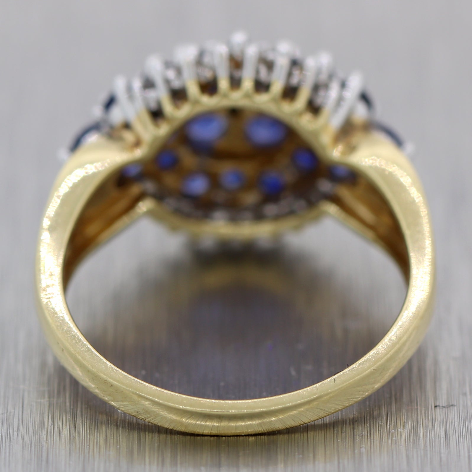 Vintage Estate 14k Yellow Gold 1.30ctw Sapphire & Diamond Cluster Ring